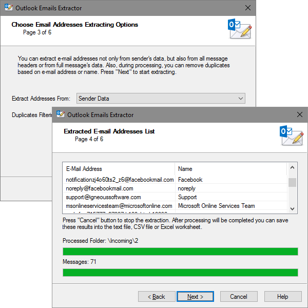 Emails Extractor for Outlook